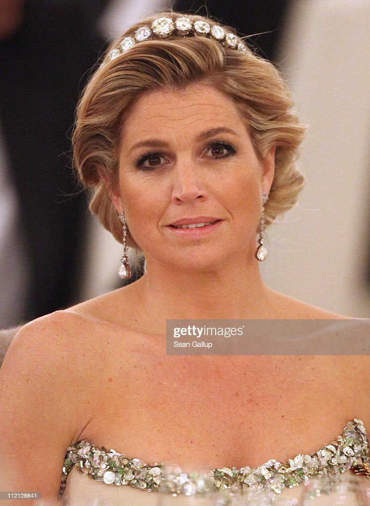 Princess Maxima of the Netherlands attends a state banquet given in honour of the visiting Dutch royals at Bellevue Presidential Palace on April 12, 2011 in Berlin, Germany. The Dutch royals, including Queen Beatrix, Prince Willem-Alexander and Princess Maxima, are on a four-day visit to Germany that includes stops in Berlin, Dresden and Duesseldorf.