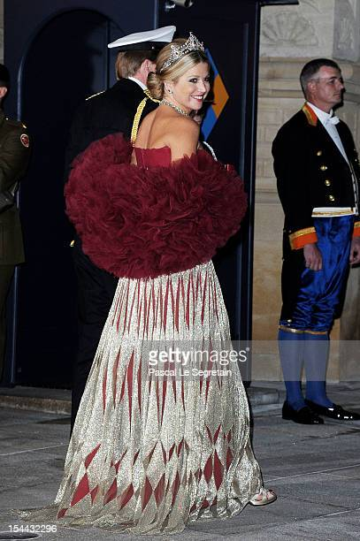 Princess Maxima of the Netherlands attends the Gala dinner for the wedding of Prince Guillaume Of Luxembourg and Stephanie de Lannoy at the...
