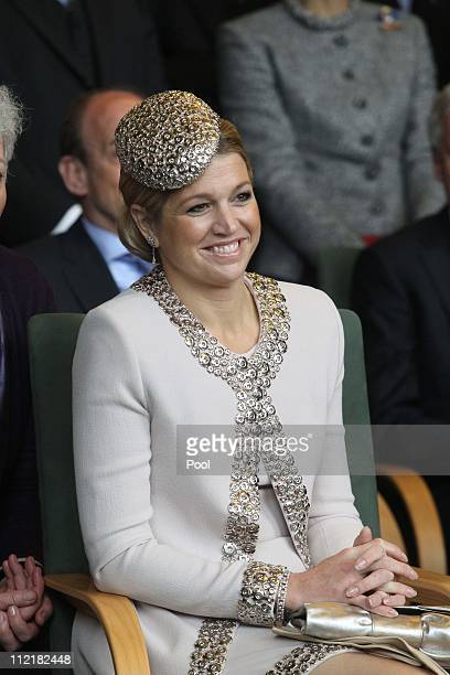 Princess Maxima of the Netherlands attends the reception of Saxony's Prime Minister Stanislaw Tillich in the state chancellery on April 14, 2011 in...