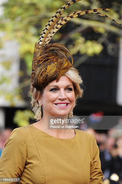 Princess Maxima of the Netherlands attends the wedding ceremony of Prince Guillaume Of Luxembourg and Princess Stephanie of Luxembourg at the...