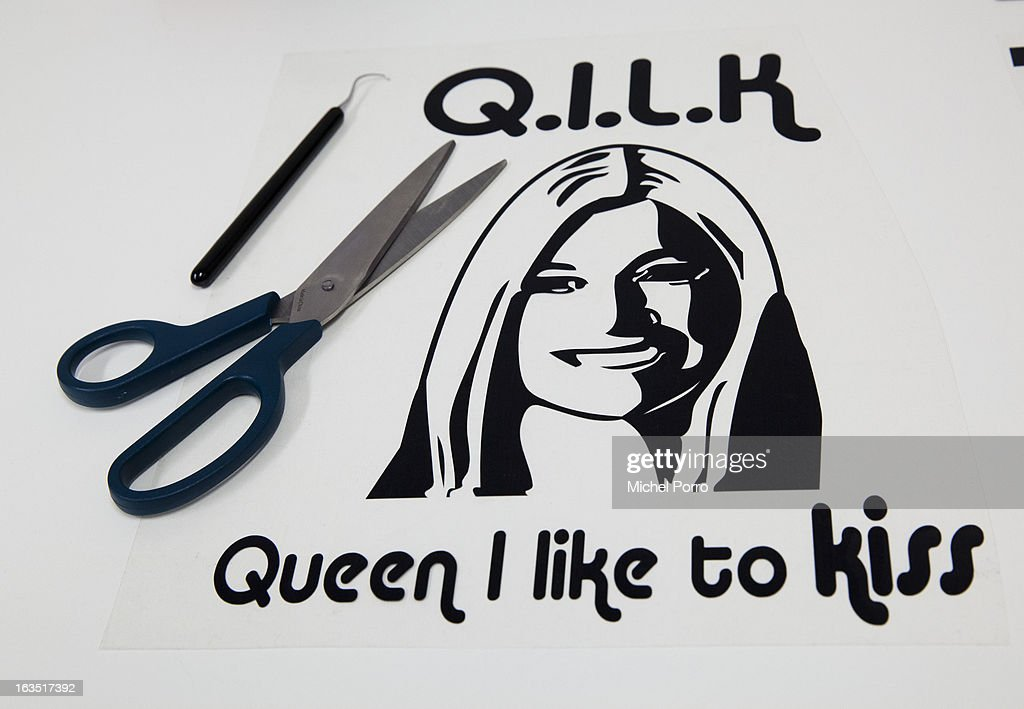 Princess Maxima of The Netherlands is prepared to be printed on t-shirts designed DPS Company in preparation of the upcoming 30 April 2013 coronation of Crown Prince Willem Alexander of The Netherlands on March 11, 2013 in Roosendaal, Netherlands.
