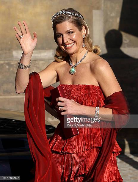 Princess Maxima of the Netherlands leaves the Royal Palace on the Dam for a dinner hosted by Queen Beatrix of The Netherlands ahead of her abdication...