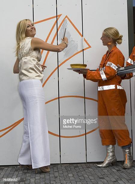 Princess Maxima of the Netherlands paints part of a wall during the opening ceremony of 'De Kamers' cultural centre on September 3 2007 in Apeldoorn...