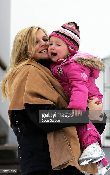 Princess Maxima of the Netherlands poses for photographs with her daughter Princess Alexia at the start of their annual Austrian skiing holiday on...
