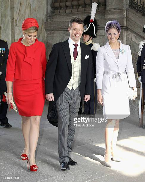 Princess Maxima of the Netherlands, Prince Frederik of Denmark and Princess Madeleine of Sweden attend the christening of new Swedish heir to the...
