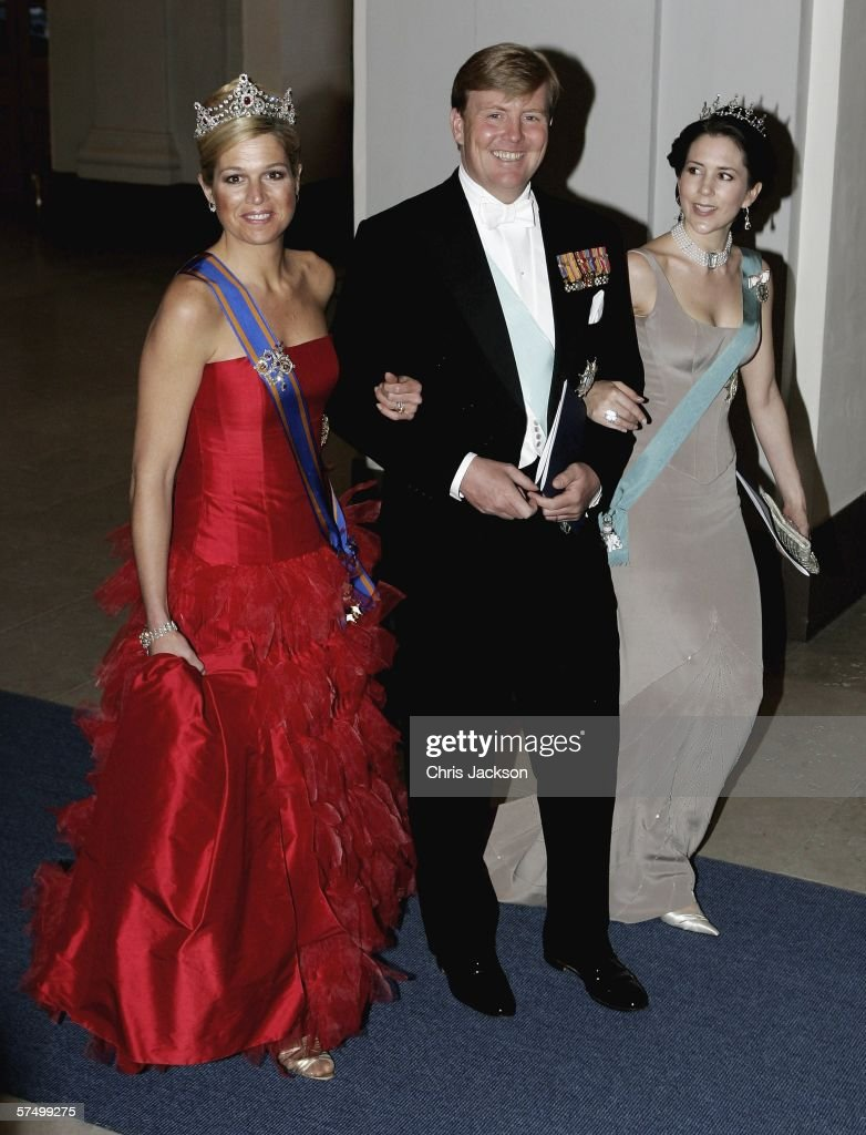 Princess Maxima of the Netherlands, Prince Willem-Alexander of the Netherlands and Princess Mary of Denmark arrive for the Gala Dinner at Royal Palace to celebrate King Carl XVI Gustaf of Sweden's 60th birthday on April 30, 2006 in Stockholm, Sweden.