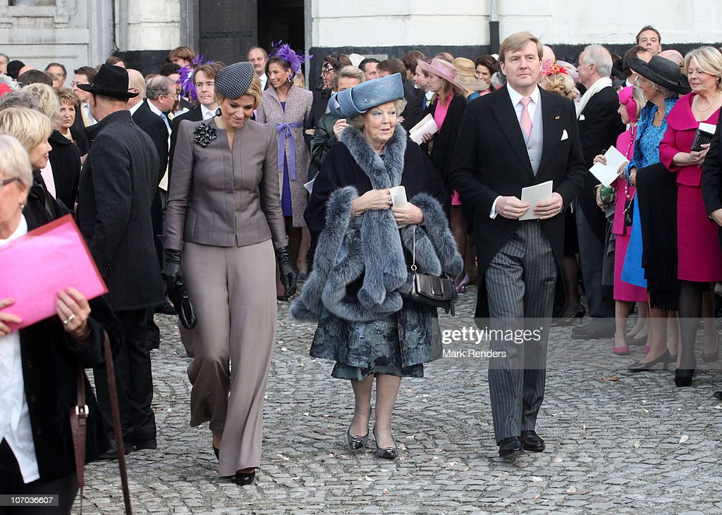 Princess Maxima of the Netherlands, Queen Beatrix of the Netherlands and Prince Willem Alexander of the Netherlands arrive at the marriage of Prince Carlos de Bourbon de Parme and Princess Annemarie Gualtherie van Weezel at Abbaye de la Cambre on November 20, 2010 in Brussels, Belgium.