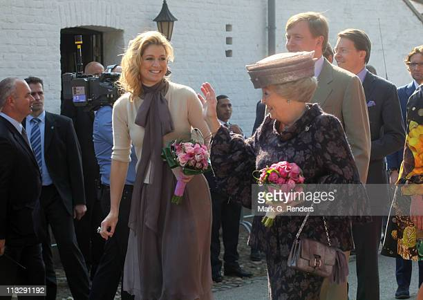 Princess Maxima of The Netherlands Queen Beatrix of The Netherlands and Prince Willem Alexander of The Netherlands celebrate Queens Day on April 30...
