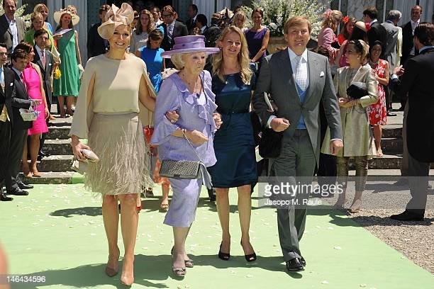 Princess Maxima of the Netherlands Queen Beatrix of the Netherlands Princess Mabel and Prince WillemAlexander arrive for the Princess Carolina Church...