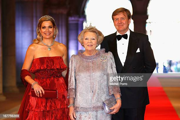Princess Maxima of the Netherlands , Queen Beatrix of the Netherlands and Crown Prince Willem-Alexander of the Netherlands arrive at a dinner hosted...