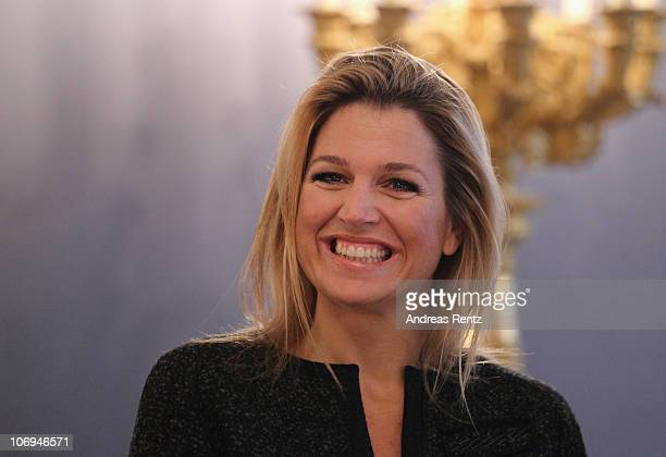 Princess Maxima of the Netherlands smiles at the balcony room at Huis ten Bosch Palace on November 18, 2010 in The Hague, Netherlands. German...