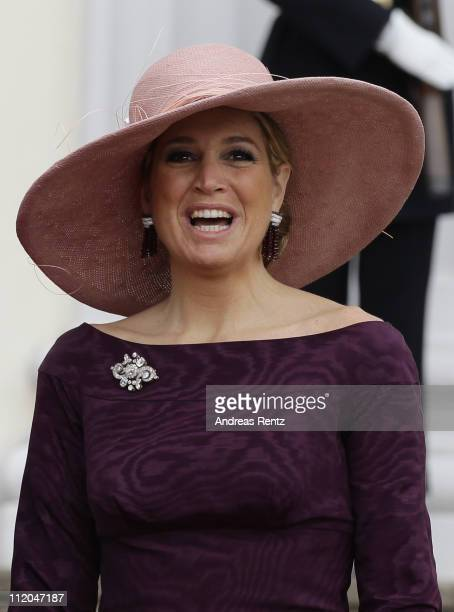 Princess Maxima of the Netherlands smiles upon her arrival at Bellevue Presidential Palace on April 12, 2011 in Berlin, Germany. The Dutch royals are...