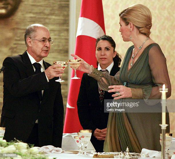 Princess Maxima of the Netherlands toasts with President Ahmet Necdet Sezer and First Lady Semra Sezer at a dinner at the Cankaya Palace in Ankara on...