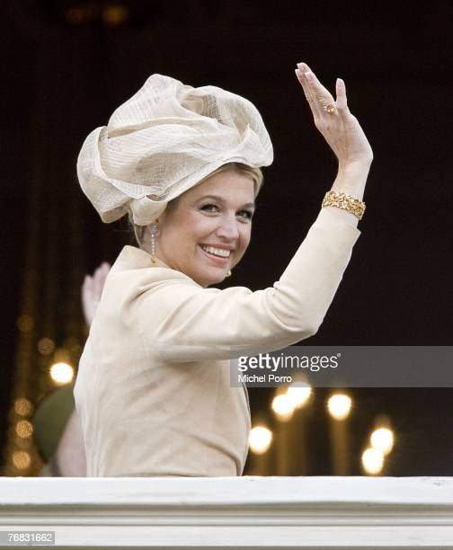 Princess Maxima of the The Netherlands waves from the Noordeinde Palace balcony during Prince's Day celebrations at The Hague on September 18 2007 in...