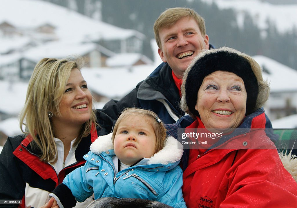 Princess Maxima (L), Prince Willem Alexander (C) their daughter Princess Almalia and Queen Beatrix of the Dutch Royal Family pose at a photocall during their winter holiday at Lech on June 5, 2005 in Lech, Austria.