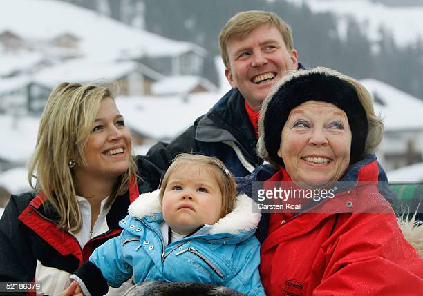 Princess Maxima Prince Willem Alexander their daughter Princess Almalia and Queen Beatrix of the Dutch Royal Family pose at a photocall during their...