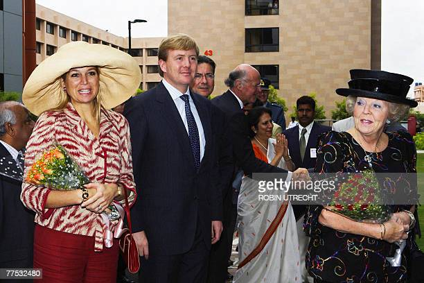 Princess Maxima Prince Willem-Alexander and Queen Beatrix arrive to Infosys for a meeting in Bangalore on the last day of a royal state visit to...