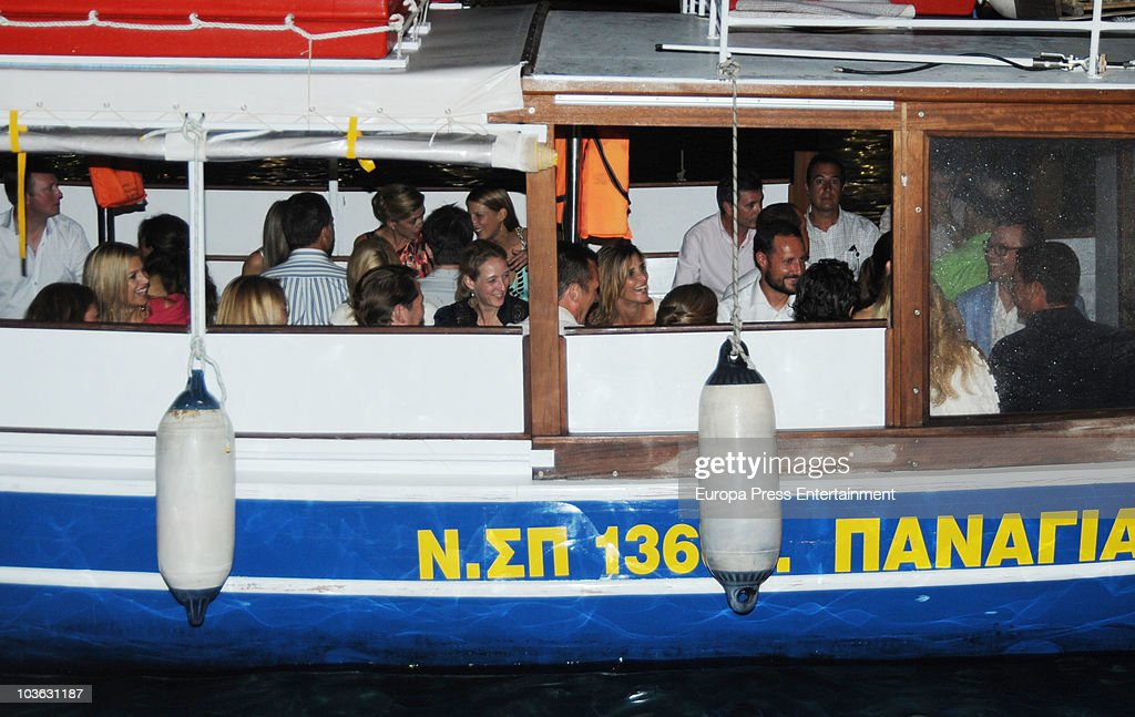 Princess Maxima, Princess Cristina, Lady Gabriella Windsor, Princess Rosario Nadal of Bulgaria, Prince Haakon of Norway and Prince Daniel on a ship to attend a dinner for young people at a small greek restaurant, held after the pre-wedding reception at the Poseidon Hotel on August 24 2010 in Spetses, Greece. The small greek Island, three hours from Athens, is gearing up for the Royal Wedding of Prince Nikolaos of Greece and Tatiana Blatnik on August 25. Royals from all over Europe and the world are expected to attend the ceremony. Prince Nikolaos is the second son of King Constantine and Queen Anne-Marie while Tatiana is an events planner for Diane Von Furstenburg in London. Many of the VIP guests are expected to stay in the Poseidon Hotel in the town centre.