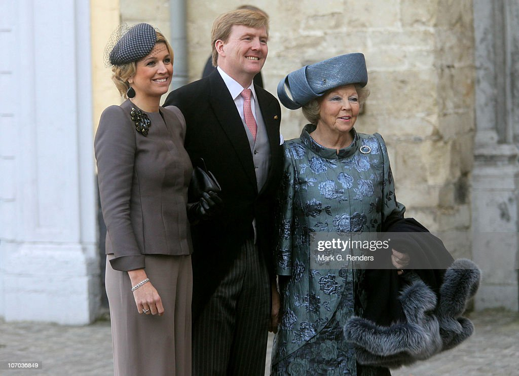 Princess Maxima, Queen Beatrix and Prince Willem Alexander of the Netherlands arrive for the Royal Wedding of Princess Annemarie Gualtherie van Weezel and Prince Carlos de Bourbon de Parme at Abbaye de la Cambre on November 20, 2010 in Brussels, Belgium.