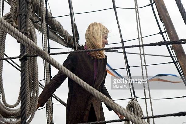 Princess Maxima walks on board the replica of the 400yearold Dutch merchant ship called the Duyfken that returned to the harbor of Oudeschild in...