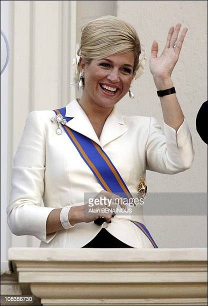 Princess Maxima waves to the gathered audience from the balcony of the Palace Noordeinde in The Hague Netherlands on September 19 2006