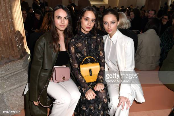 Princess Melusine Ruspoli, Denise Tantucci and Beatrice Vendramin attend the Salvatore Ferragamo show during during Milan Fashion Week Fall/Winter...