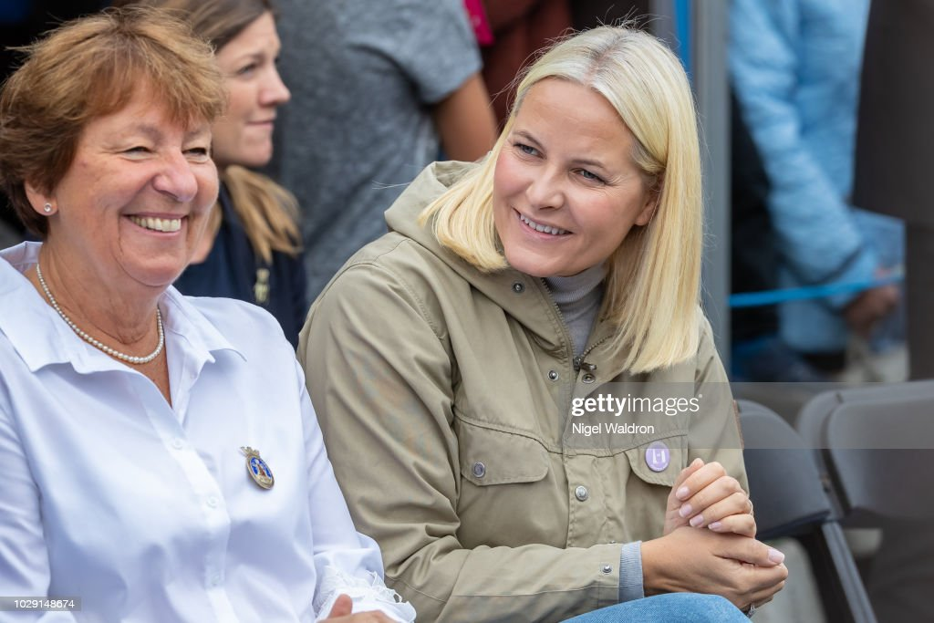 Princess Mette Marit of Norway and Marianne Borgen the Mayor of Oslo attend the Mortensrud Festival on September 9, 2018 in Oslo, Norway.