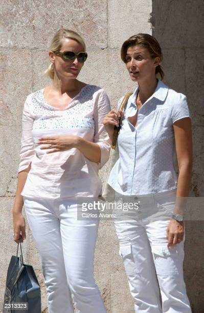 Princess Mette Marit of Norway and Rosario Nadal are seen shopping on July 29 2003 in Palma de Mallorca Spain