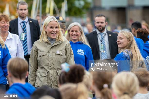 Princess Mette Marit of Norway attends the Mortensrud Festival on September 9 2018 in Oslo Norway