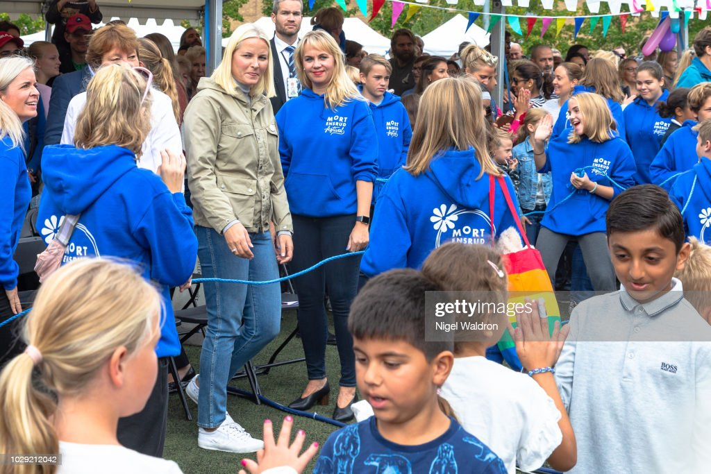 Princess Mette Marit of Norway attends the Mortensrud Festival on September 9, 2018 in Oslo, Norway.