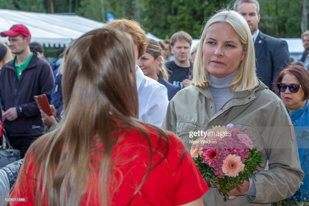 Princess Mette Marit of Norway is listening attentively to the local audience during the Mortensrud Festival on September 9, 2018 in Oslo, Norway.