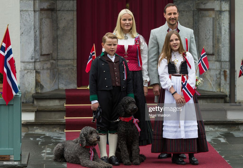 Princess Mette Marit of Norway, Prince Haakon of Norway, Prince Sverre Magnus of Norway, Princess Ingrid Alexandra of Norway during the children's parade at Skaugum on Norway's National Day on May 17 2017 in Asker, Norway.