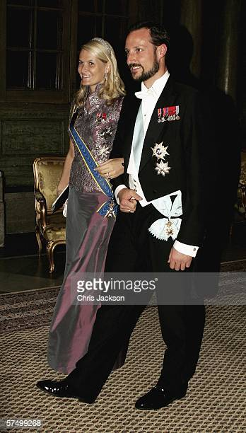 Princess Mette-Marit and Prince Haakon of Norway arrive for a Gala Dinner at the Royal Palace to celebrate King Carl XVI Gustaf of Sweden's 60th...
