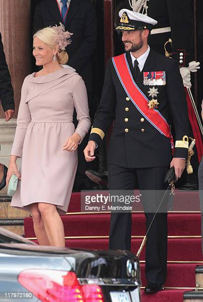 Princess Mette-Marit of Norway and Prince Haakon of Norway are seen leaving the Hotol de Paris to attend the religious ceremony of the Royal Wedding...