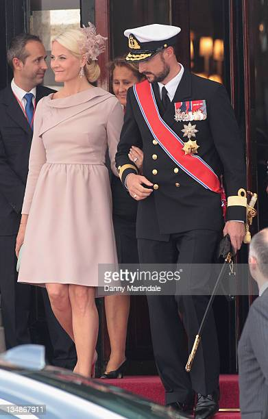 Princess MetteMarit of Norway and Prince Haakon of Norway are seen leaving the Hotol de Paris to attend the religious ceremony of the Royal Wedding...
