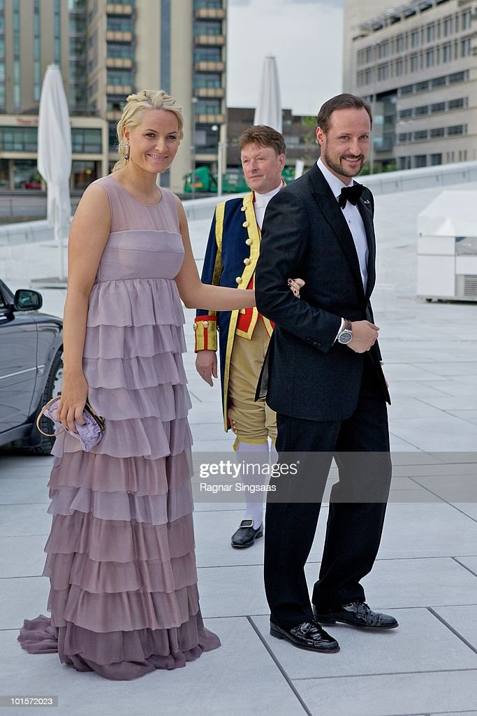 Princess Mette-Marit of Norway and Prince Haakon of Norway arrive at the National Opera House on June 2, 2010 in Oslo, Norway.