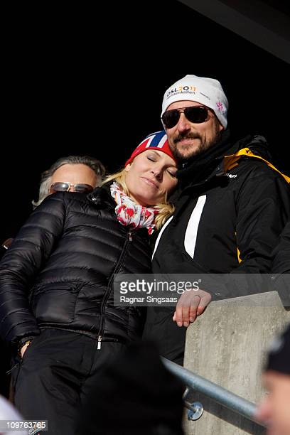 Princess Mette-Marit of Norway and Prince Haakon of Norway attend the Men's Relay 4x10km Classic/Free race during the FIS Nordic World Ski...