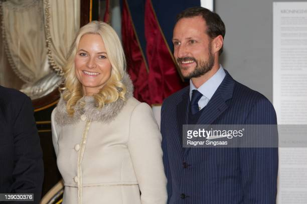 Princess MetteMarit of Norway and Prince Haakon of Norway attend the opening of the Jubilee Exhibition 'Royal journeys 1905 2005' at...