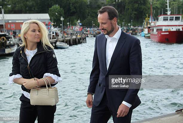 Princess MetteMarit of Norway and Prince Haakon of Norway walk in the port before boarding a boat on June 12 2010 in Sassnitz Germany The Norwegian...