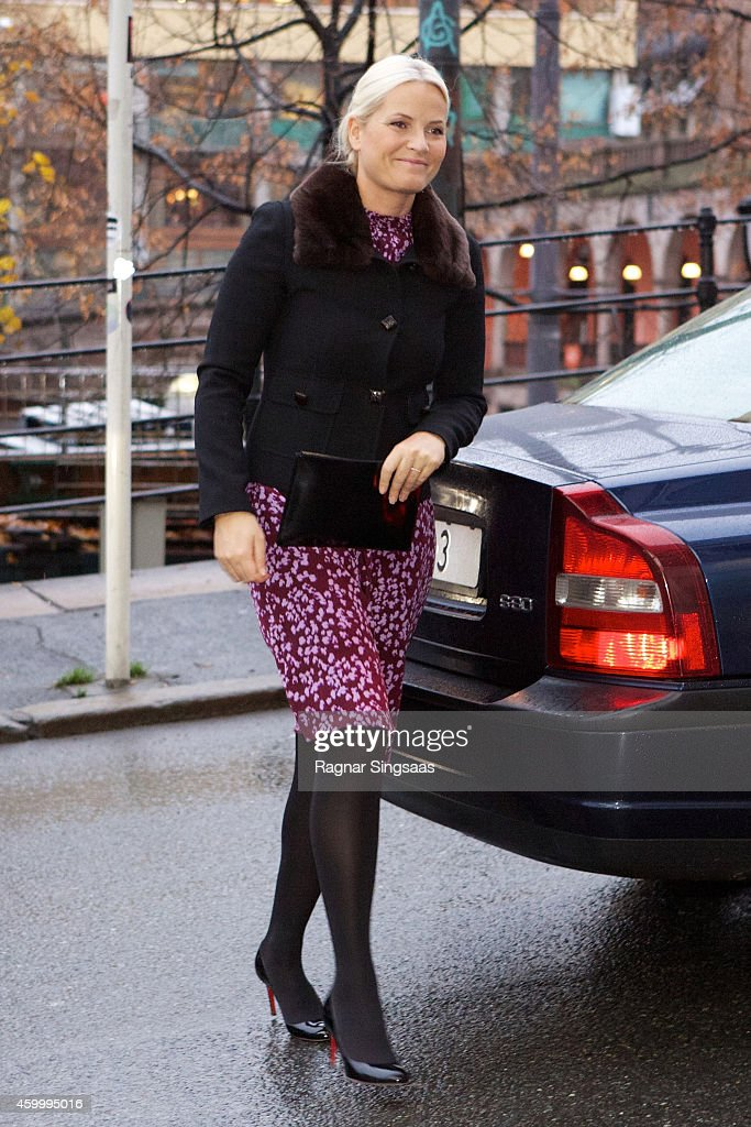 Princess Mette-Marit of Norway arrives at the 75th Anniversary of the Norwegian People's Aid on December 5, 2014 in Oslo, Norway.