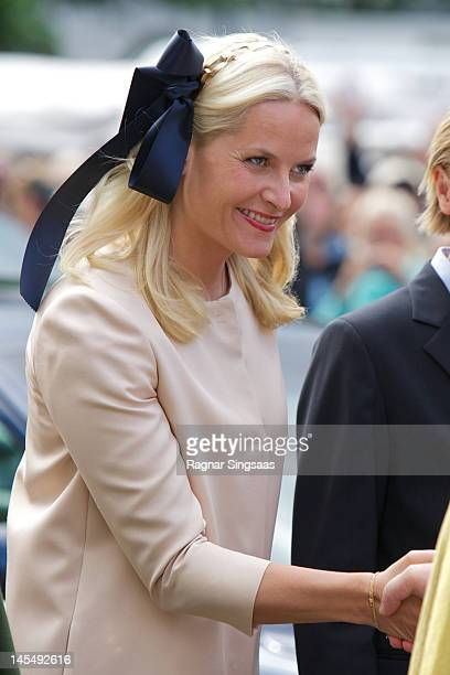 Princess MetteMarit of Norway attends a church service on the occasion of King Harald V and Queen Sonja of Norway's 75th birthdays at Oslo Cathedral...