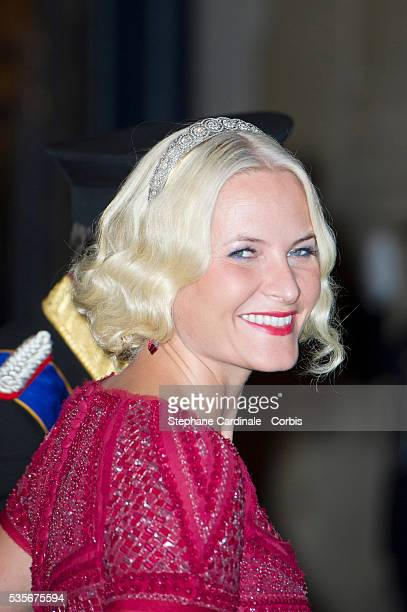 Princess Mette-Marit of Norway attends the Gala dinner for the wedding of Prince Guillaume of Luxembourg and Stephanie de Lannoy at the Grand-ducal...