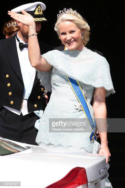 Princess MetteMarit of Norway departs The Grand Hotel to attend the wedding of Princess Madeleine of Sweden and Christopher O'Neill hosted by King...