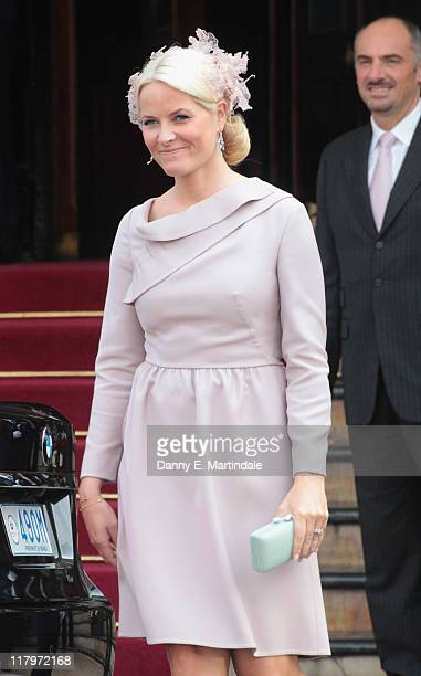 Princess Mette-Marit of Norway is seen leaving the Hotol de Paris to attend the religious ceremony of the Royal Wedding of Prince Albert II of Monaco...