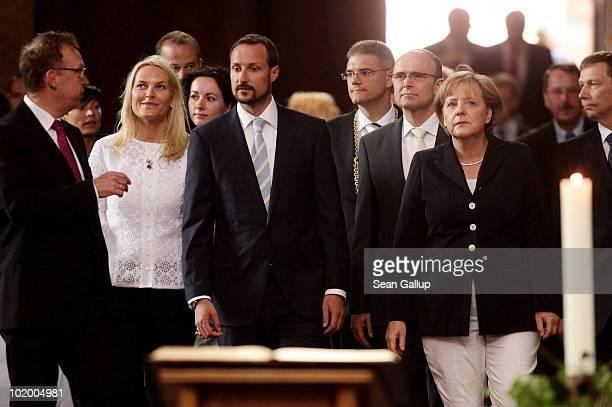 Princess Mette-Marit of Norway , Prince Haakon of Norway and German Chancellor Angela Merkel visit St. Nikolai Church on June 12, 2010 in Stralsund,...