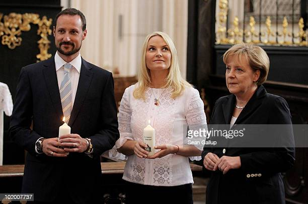 Princess MetteMarit of Norway Prince Haakon of Norway and German Chancellor Angela Merkel visit St Nikolai Church on June 12 2010 in Stralsund...