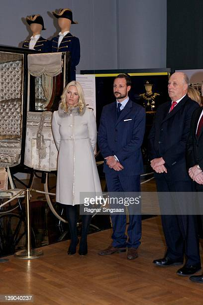 Princess MetteMarit of Norway Prince Haakon of Norway and King Harald V of Norway attend the opening of the Jubilee Exhibition 'Royal journeys 1905...