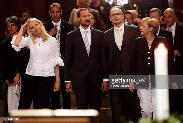 Princess Mette-Marit of Norway , Prince Haakon of Norway , Mecklenburg-Western Pomerania Governor Erwin Sellering and German Chancellor Angela Merkel...