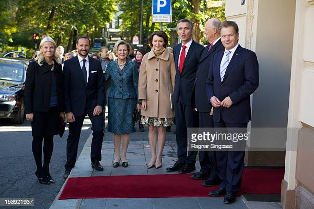 Princess MetteMarit of Norway Prince Haakon of Norway Queen Sonja of Norway First Lady of Finland Jenni Haukio Norwegian Prime Minister Jens...