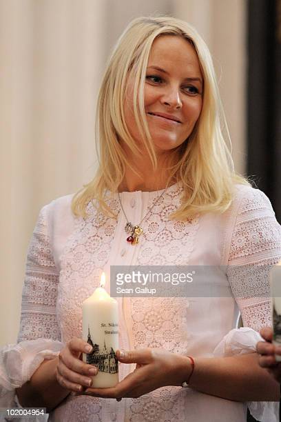 Princess MetteMarit of Norway visits St Nikolai Church on June 12 2010 in Stralsund Germany The Norwegian prince and princess are on a oneday visit...